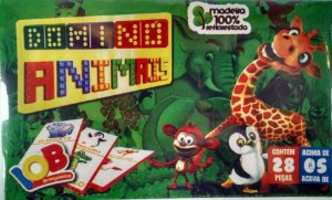 Jogo Educativo Pedagogico IOB de Madeira - Domino Animal - Ref.65