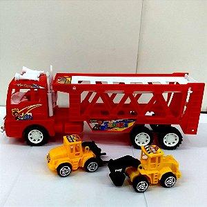 Caminhão Cegonha a Fricção com 28 cm e  2 Tratores de construção - CR60029