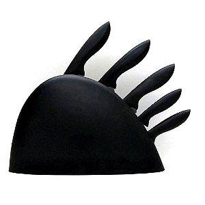Conjunto de Facas no Cepo - PRETO - Incasa - 5 facas com suporte - YG0015