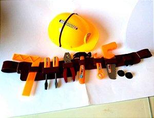 Kit de Ferramentas infantil  Capacete Citurao serrote martelo alicate chave de fendas e rosca trena AB7462
