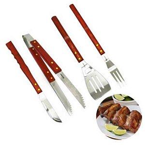 Kit para churrasco com 4 pecas e cabo de madeira- 1706 - Western
