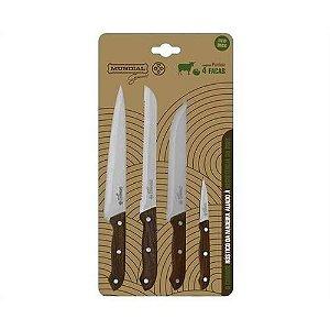Conjunto de 4  facas Mundial Gourmet Ponteiro - 0900-4