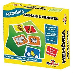 Jogo Pedagógico Brinquedo Educativo em Madeira - Jogo da Memoria Animais e Filhotes - Ref.168 - 40 pecas - Ciabrink
