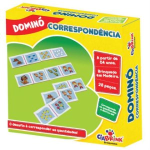 Jogo Pedagógico Brinquedo Educativo em Madeira - Domino Correspondencia Ref.166 - 28 pecas - Ciabrink