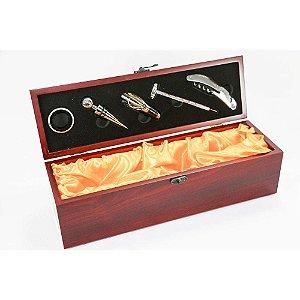 kit para vinho com 6 pecas -caixa em madeira e acessórios 519 UnyGift