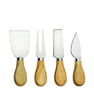 Kit para queijo com 4 facas em inox e cabo de madeira - LH002 Unyhome