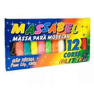 Massa para modelar com Glitter - Massinha MASSABEL 12 cores com Gliter - Ref.5066