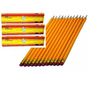 Lapis HB2 Grafite com borracha Monaliza - kit com 3 caixas com 12 lapis cada - total de 36 lapis - MZ-65225 mv
