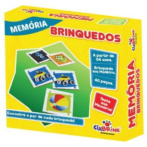 Jogo Pedagógico Brinquedo Educativo em Madeira - Jogo da Memoria Brinquedos - Ref.173 - 40 pecas - Ciabrink