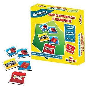 Jogo Pedagógico Brinquedo Educativo em Madeira - Jogo da Memoria Meios de Comunicação e Transporte - Ref.170 - 40 pecas - Ciabrink