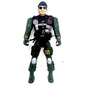 Boneco Articulado : Policial - Soldado - GRANDE - 37 cm - BA14604