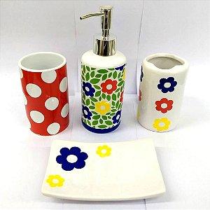 Jogo de Banheiro em ceramica - Margarida Colorida - com 4pc - Ref.303 - Susan