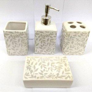 Jogo de Banheiro em ceramica - Folhas Cinza Prata - com 4pc - Ref.304 - Susan