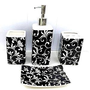Jogo de Banheiro em ceramica -Barroco Negro - com 4pc - Ref.322 - Susan