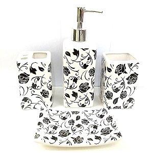 Jogo de Banheiro em ceramica - Rosa Negra - com 4pc - Ref.322 - Susan