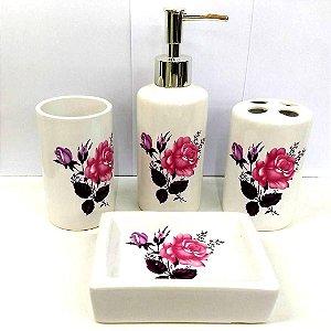 Jogo de Banheiro em ceramica - Rosas do Jardim - com 4pc - Ref.302 - Susan