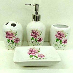 Jogo de Banheiro em ceramica - Flores do Jardim - com 4pc - Ref.301 - Susan