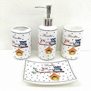 Jogo de Banheiro em ceramica - Familia Coruja 4 - com 4pc - Ref.317 - Susan