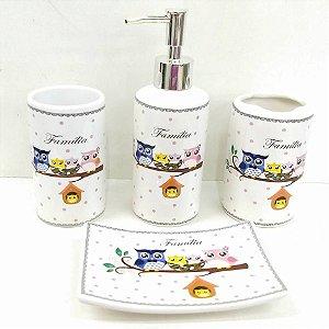 Jogo de Banheiro em ceramica - Familia Coruja 5 - com 4pc - Ref.317 - Susan - mv1