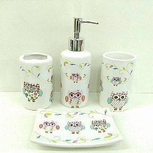 Jogo de Banheiro em ceramica - Coruja - com 4pc - Ref.318 - Susan