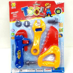 Kit de ferramentas infantil com 7 pecas - Serrote - Grifo - Chave Inglesa - Parafusos - Roscas - AB7311