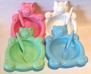 Kit prato Baby com colher -Kit Refeicao GATINHO - 8919 - Platibrasil