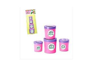 Kit de Mantimentos infantil com 4 potinhos - VARIOS FORMATOS E CORES - Altimar - 2440-2016