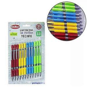Lapiseira com apontador 2,0mm TECHNO colors - Kit Com 12 Pecas - GOLLER - G-1131 - 6031