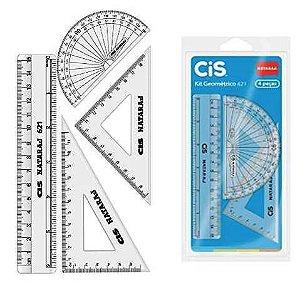 Kit Geométrico com 4 reguas transparentes - regua - transferidor - esquadro - CIS 9814