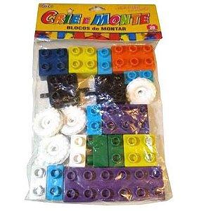 Bloco de Montar com 20 pecas - CRIE E MONTE - Brinquedo Educativo Jogo Pedagogico - ref. 1834 Mini Toys