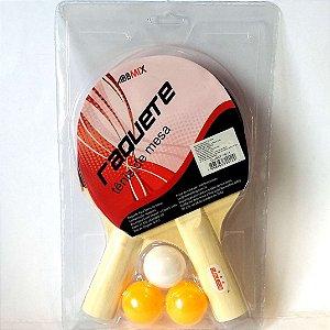 Raquete de Tenis de Mesa com bolinhas - Raquete de Ping-Pong com 5 pecas - GUBLY0611