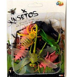 Bichinhos de brinquedo - INSETOS - com 8 animais - Ref. Toy12441 - H100