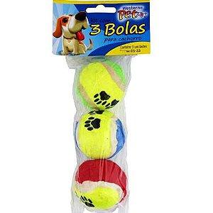 Bola para Caes 3 unidades por pacote - BOLA PET - 5 cm CB33 Etilux