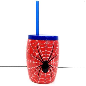 Copo plastico com canudo Spider Man 13 cm - 650 ml - Injetemp - Ref.0316