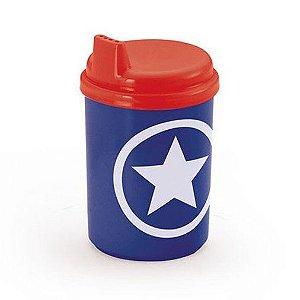 Copo plastico para bebes - Capitao America - 9 cm - 240 ml - copo chuquinha - Injetemp Ref.9670