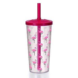 Copo plastico com canudo Flamingo - 16 cm - 600 ml - Injetemp Ref.9648