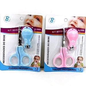 Kit Unha Baby - Tesoura e Cortador de Unha - Kit Manicure Baby Azul ou Rosa -BJ2609
