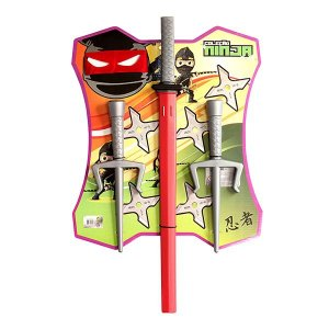 Kit Ninja 4 pcs - 2 adagas 1 espada com bainha 1 mascara - LePlastic .9305 fte