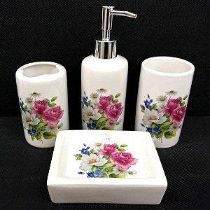 Jogo de Banheiro em ceramica - Flor- com 4pc - Ref.302 - Susan
