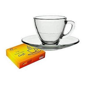 Jogo de Xicara de Cafe com Pires - 6 pecas - Xicaras de Vidro - Ref. CCS34510-6CCWP