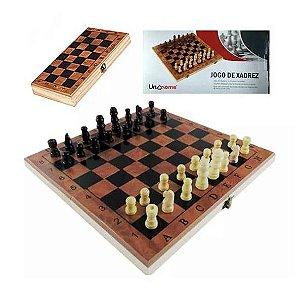 Tabuleiro de Xadrez em Madeira Dobravel - Jogo de Xadrez - Uni Home - JG172001