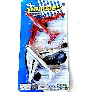 Aviao de brinquedo 13 cm - Kit com 2 avioes AIRLINES - BA11307