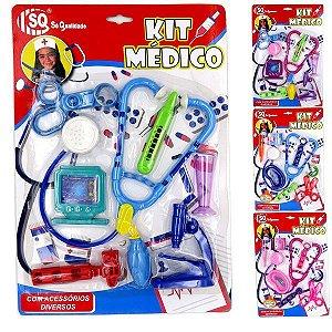 Brincando de Medico - Kit Medico de Brinquedo - com Estetoscopio Microscopio e acessorios - Varias Cores - SQ3855