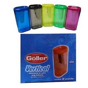 Apontador Escolar com Deposito VERTICAL - CAIXA com 12 - cores sortidas - GOLLER 5242