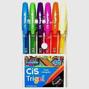Estojo com 6 canetas CIS Trigel Neon - Caneta Gel - Ref.3985