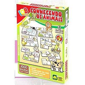 Jogo Pedagogico Brinquedo Educativo  - Conhecendo os Animais- Brinquedo Didatico de Madeira IOB  Ref.164