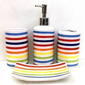 Jogo de Banheiro em ceramica -Arco-Iris  - com 4pc - Ref.319 - Susan