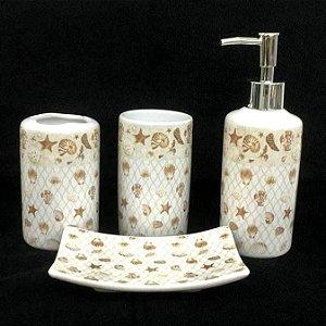 Jogo de Banheiro em ceramica - Mar - com 4pc - Ref.320 - Susan