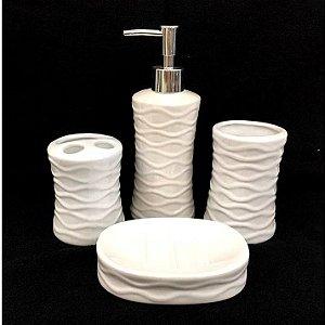 Jogo de Banheiro em ceramica - Textura Branco - com 4pc - Ref 337 - Susan