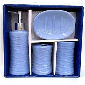 Jogo de Banheiro em ceramica - Textura Azul Claro - com 4pc - Ref 337 - Susan